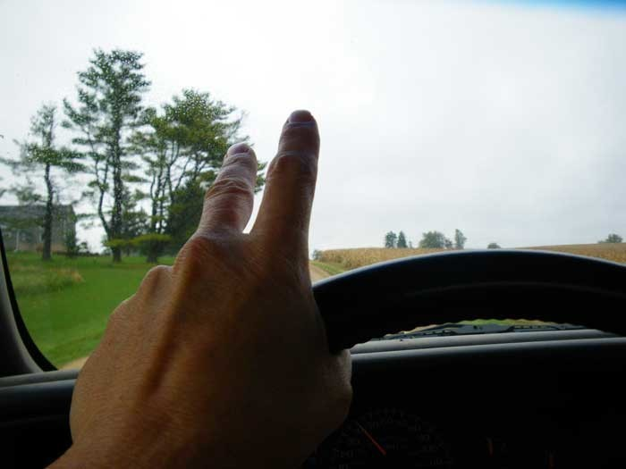 10. We'll wave at everyone while we're driving - but only with a finger or two.