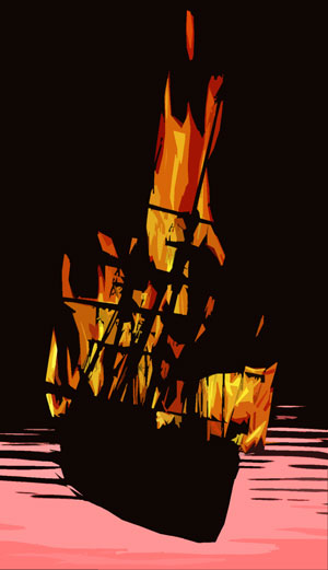 5. On certain nights off of the coast you might spot a flaming ghost ship.