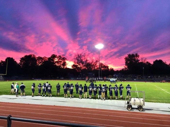 16) This breathtaking sunset at an Essex High School football game was taken by Kimberly Wells Garrett.