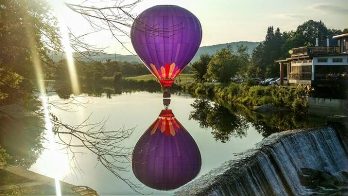 10) This wondrous hot air ballon, shot by Jeremy Wiggs by the Quechee Covered Bridge.