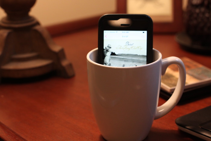 6. If you have a phone or music player with speakers, put it inside of a coffee mug for the ultimate volume amplifier!