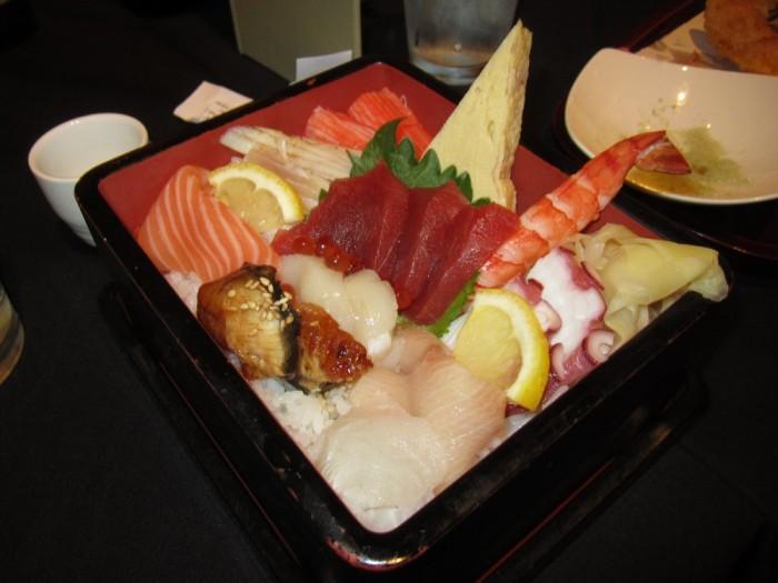 A fresh dish of sashimi and fruit from Nakato.