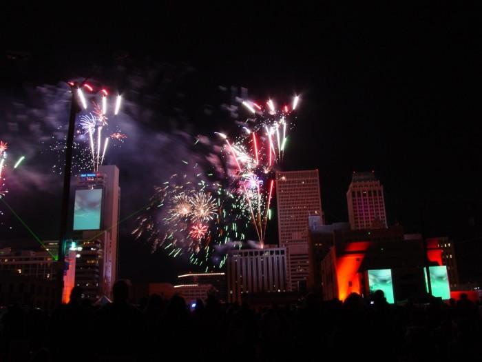 11. Tulsa Centennial Celebration lights up the sky over downtown Tulsa.