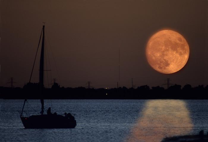 4. A full moon captured over Oklahoma City.