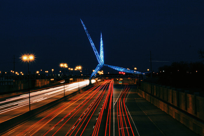 13. The Skydance Bridge in Oklahoma City is captivating at night.