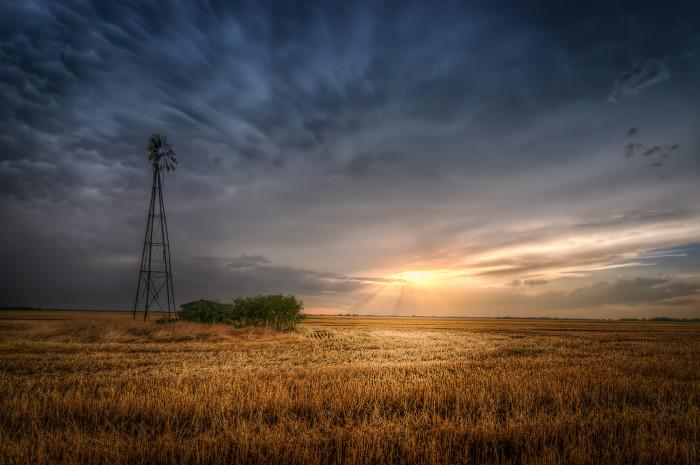 16. The rays shining through after a storm on the Kansas/Oklahoma border.