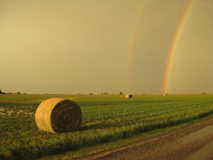 3. This double rainbow  over Alva, OK, is spectacular.