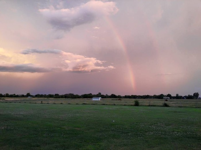 9. This faint, double rainbow can be seen in the beautiful Oklahoma sky.