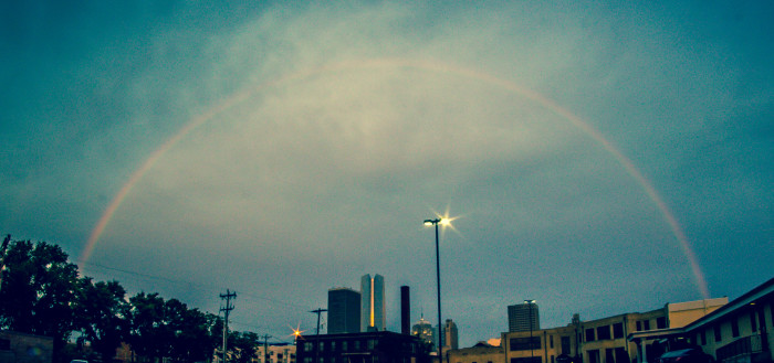 6. This lovely rainbow is towering over Devon Tower in Oklahoma City.