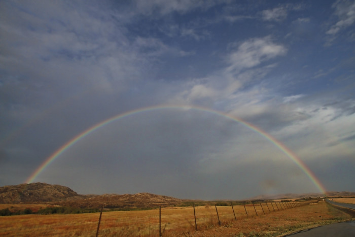 5. Don't you love the full view of the rainbow over the Wichita Mountains?