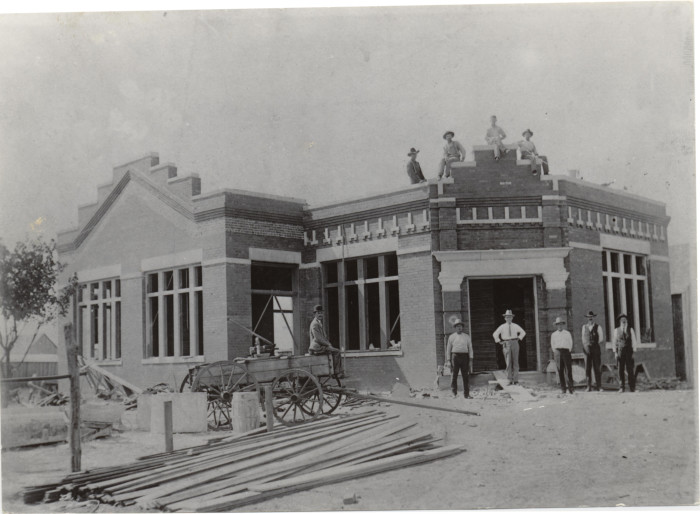 13.  The construction of City Hall in Blanchard, OK, in 1909.