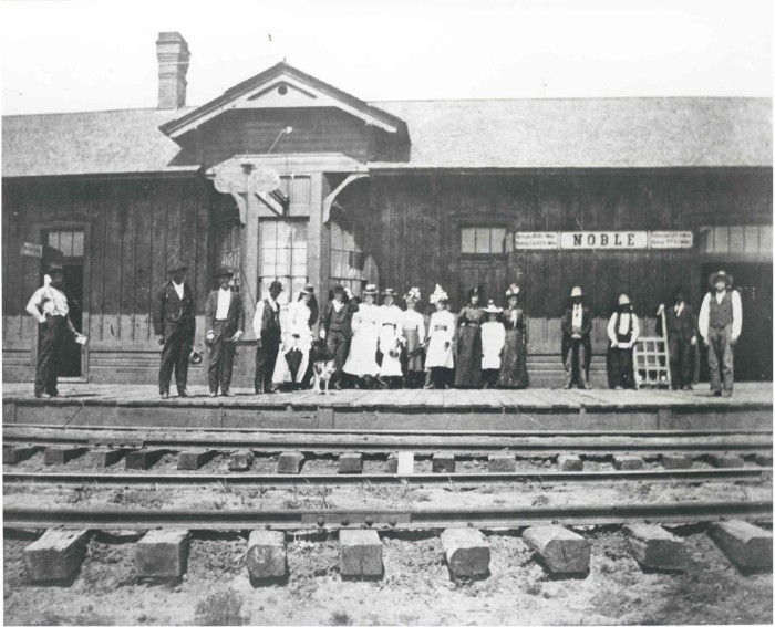 6. A train station in Noble, OK, in 1897...The Santa Fe Depot. The last passenger train stopped in Noble in 1944 and the depot was moved.