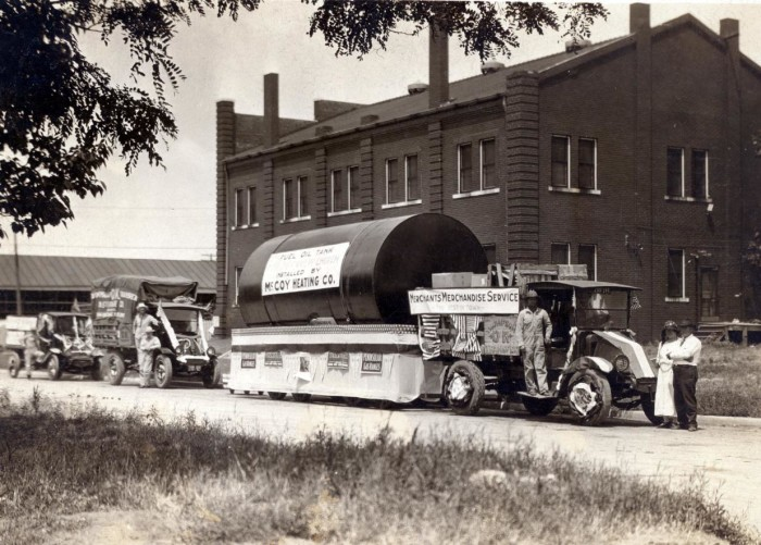 4.  A parade in 1920, in Norman, OK. Featuring: Merchants Merchandising, McCoy Heating Co., and Thompson, Ok Transfer