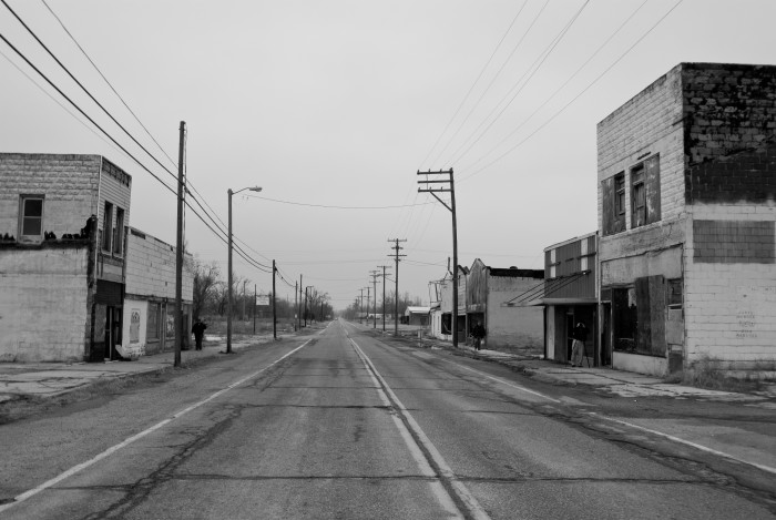 Looking down the highway in U.S. 69 in Picher, Oklahoma. The city's main drag is abandoned after being labeled a Superfund site.