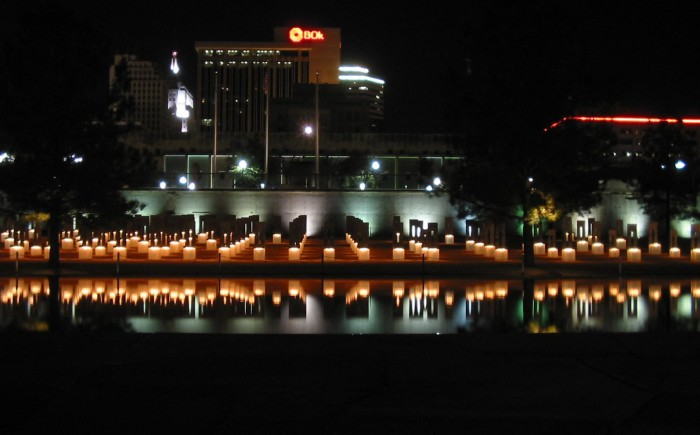 2. The field of empty chairs illuminated at the Oklahoma City Bombing Memorial.