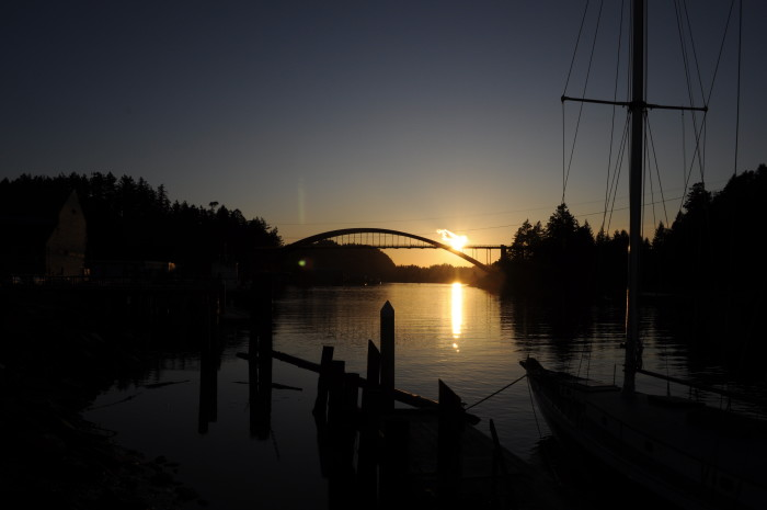 7. A lovely sunset over Rainbow Bridge, which connects Fidalgo Island and La Conner.