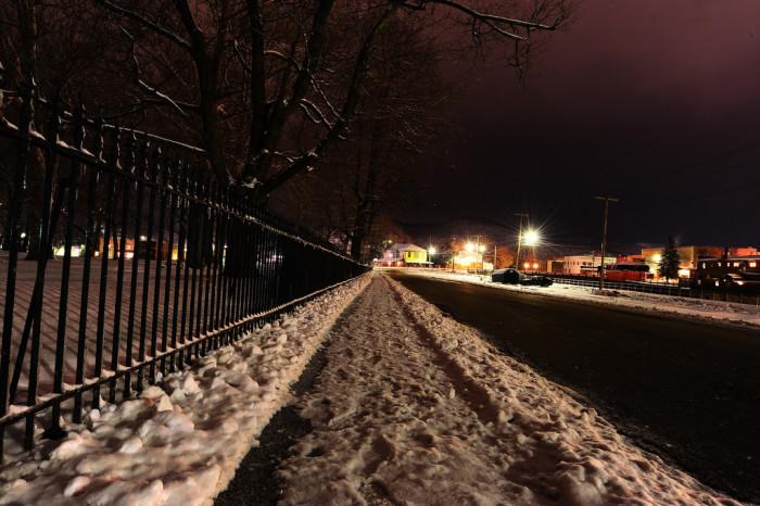 5. This snowy sidewalk outside the Trans-Allegheny Lunatic Asylum.