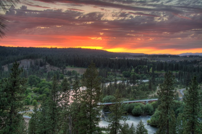 6. This fiery sunset was seen by the Spokane River.