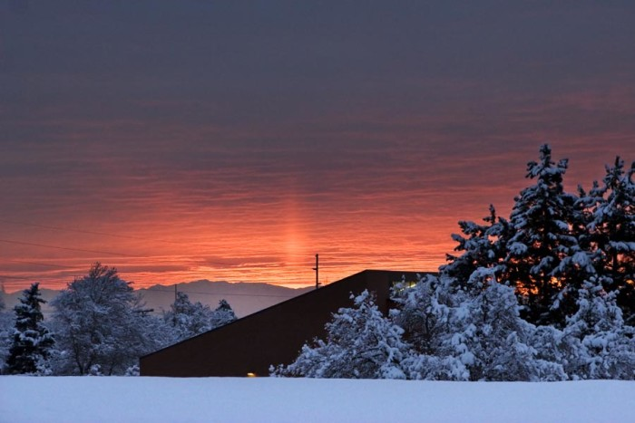 15. Do you see the sun pillar in this sunset photo? It only occurs when the temperature and humidity are just right.