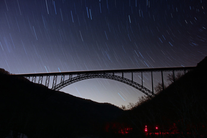 1. The starry sky over the New River Gorge Bridge.