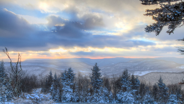 8. This beautiful but cold-looking sunrise at Snowshoe Mountain.