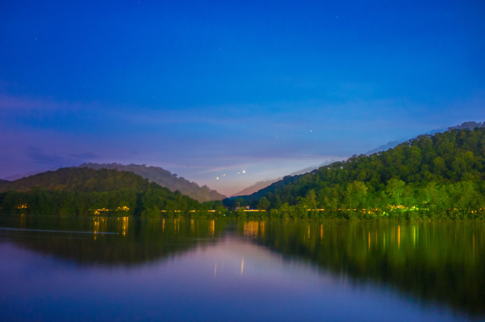 7. The Ohio River in Paden City at nightfall.