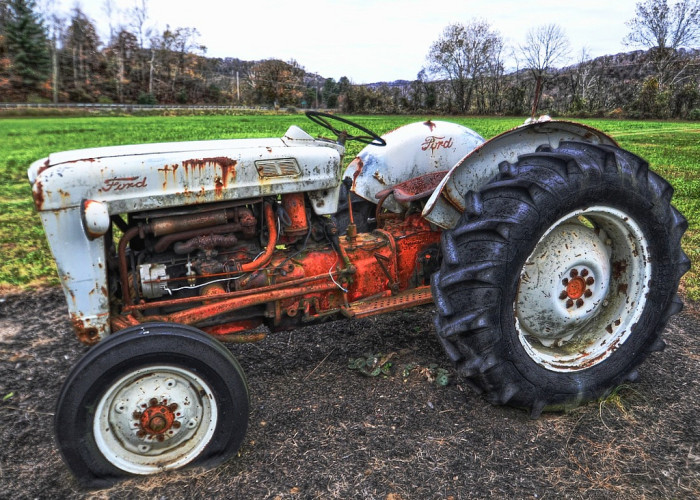 7.This old abandoned tractor that's clearly seen better days.