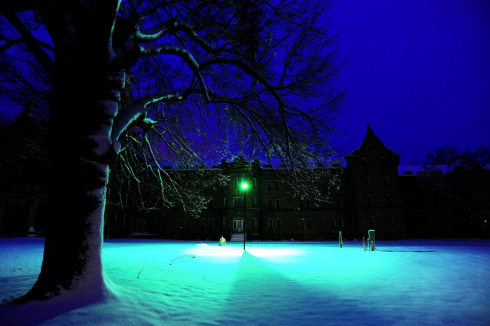 8. The Trans-Allegheny Lunatic Asylum with beautiful blue tones.