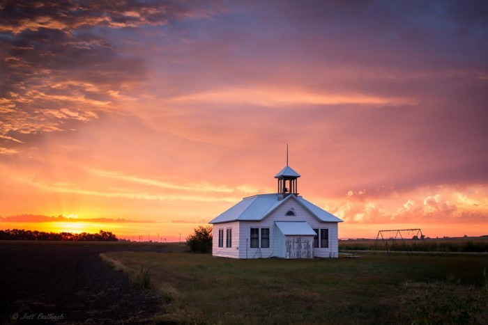 """3. """"Sunrise and schoolhouse in Ames."""""""