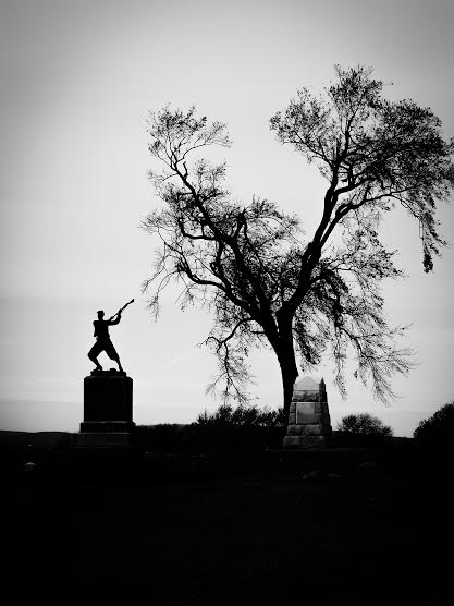 3. This striking black and white shot of Gettysburg shows off a statue's dramatic silhouette.
