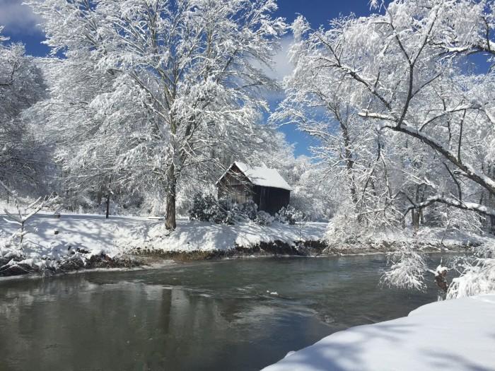 8. This snowy barn.