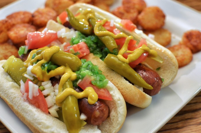 2. Chicago-style hot dogs.