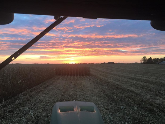 20. This view from a tractor cab captures sunset in Tonica. Thank a farmer.