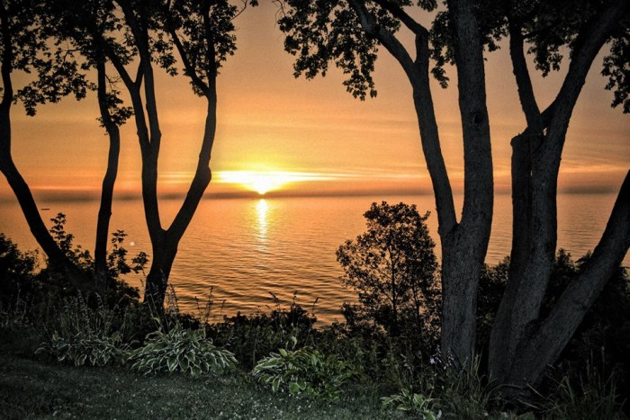 12. I love this shot that Art took of a Lake Michigan sunrise peeking between the trees in Manitowoc.