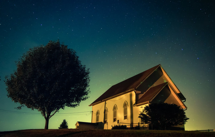 12. This magical, somewhat eerie, shot of an illuminated sky in western Iowa.