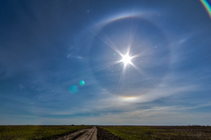 7. They say don't look directly at the sun, but how couldn't you when this halo appeared over Coddington?