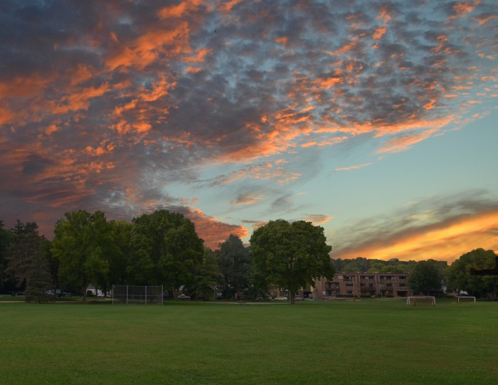 10. The sun and the dramatic sky fight for dominance over Wingra Park.