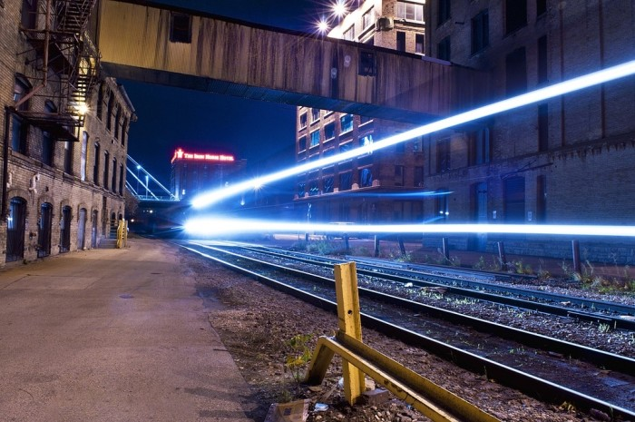 1. I love this shot of a train as it drives right by in Milwaukee.