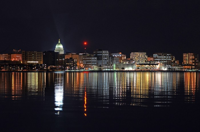 2. Now that's a fabulous shot of the Madison cityscape, lit up and reflected over the water.