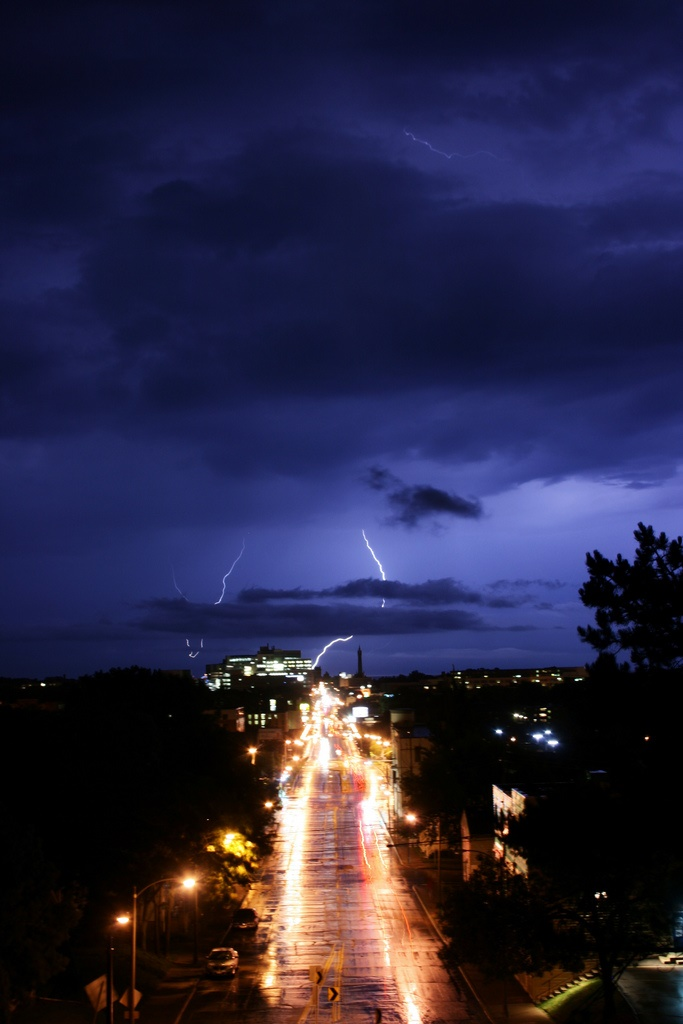 5. This is an absolutely fantastic shot of a lightning show in the distance down North Avenue in Milwaukee.