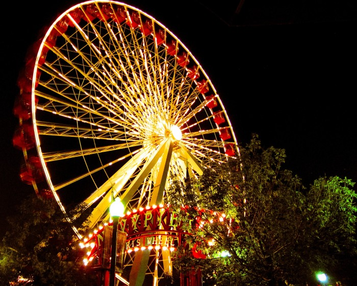 1. The Ferris Wheel at Navy Pier looks even more imposing at night.