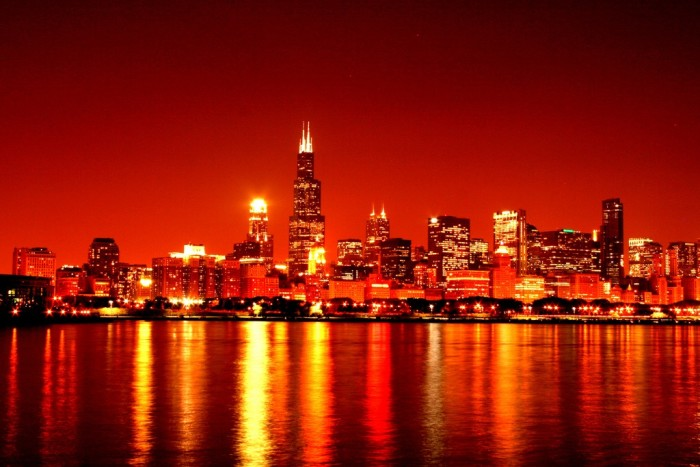 8. The Chicago sky has a red/orange glow.