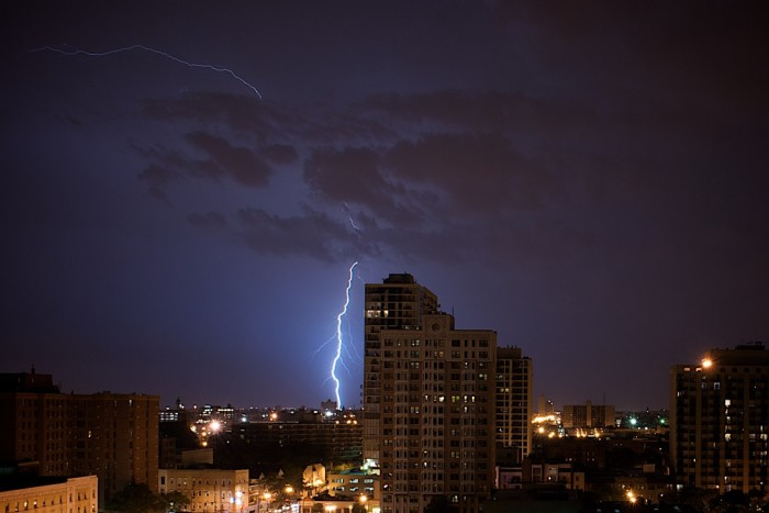 15. This photographer captured lightning over the city.