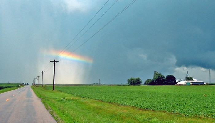 3. Tim captured this photo of a rainbow disappearing into the clouds over central Illinois.