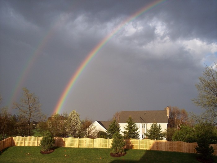 6. This double rainbow appeared over a home in Elgin, Illinois.