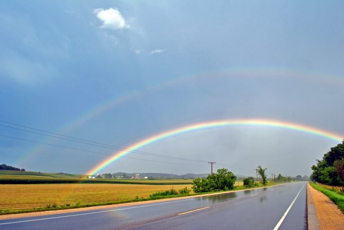 2. Check out this double rainbow over the road in Menomonie, Wisconsin.