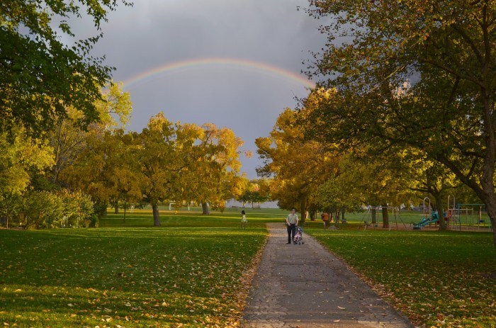 5. This is a great shot of a rainbow over Wingra Park, in Madison
