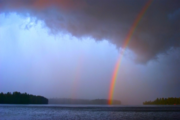 7. Yup, that's a double rainbow over the Moens Chain of Lakes.