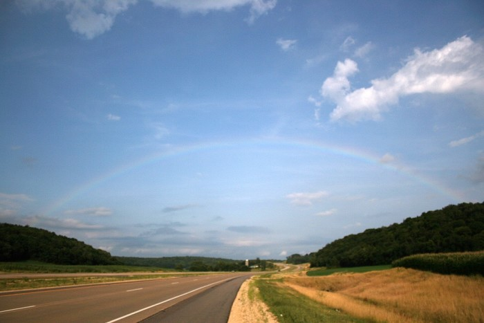 8. I like this shot of a faint rainbow over a highway outside of Madison.