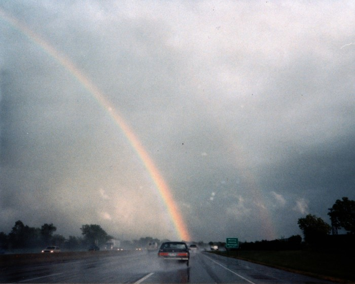 7. This rainbow emerged over the Edens expressway.
